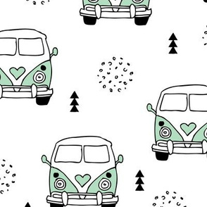 Cool vintage happy camper hippie bus geometric scandinavian illustration design for kids mint XL