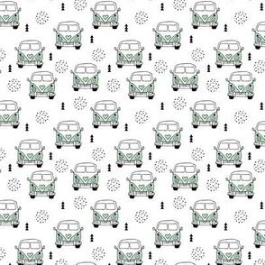 Cool vintage happy camper hippie bus geometric scandinavian illustration design for kids mint XS