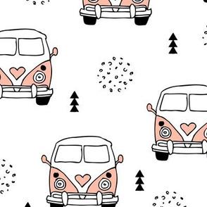 Cool vintage happy camper hippie bus geometric scandinavian illustration design for kids pink XL