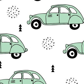 Cool vintage oldtimer cars paris collection geometric scandinavian illustration design for kids mint XL