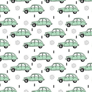 Cool vintage oldtimer cars paris collection geometric scandinavian illustration design for kids mint XS