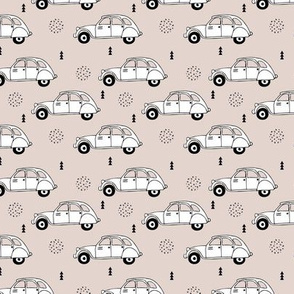 Cool vintage oldtimer cars paris collection geometric scandinavian illustration design for kids beige XS