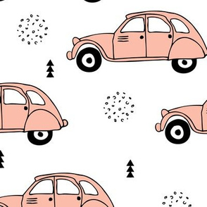 Cool vintage oldtimer cars paris collection geometric scandinavian illustration design for girls pastel pink coral XL