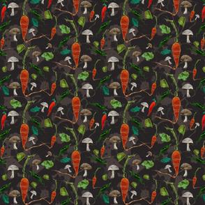 vegetables black_patterned_background