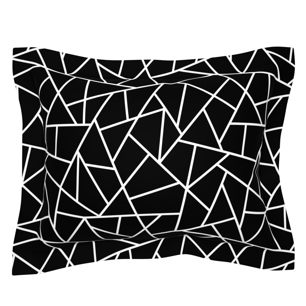 Sebright Pillow Sham featuring Abstract Geometric White on Black Large by sierra_gallagher