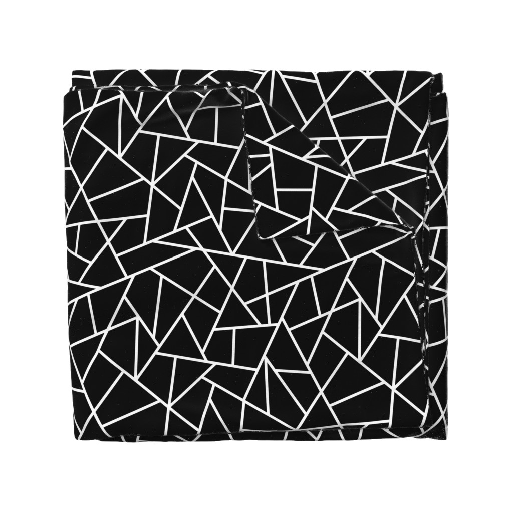Wyandotte Duvet Cover featuring Abstract Geometric White on Black Large by sierra_gallagher