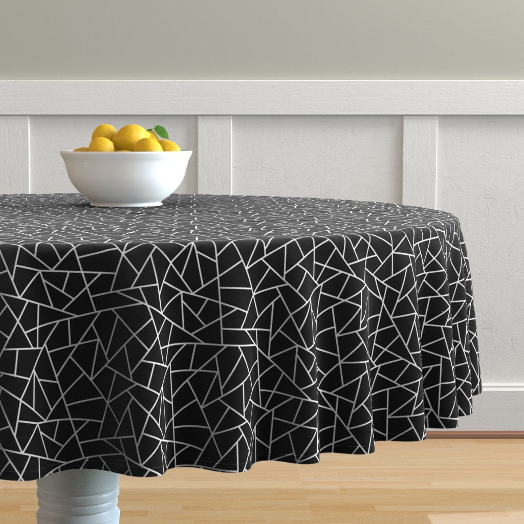 Malay Round Tablecloth featuring Abstract Geometric White on Black Small by sierra_gallagher