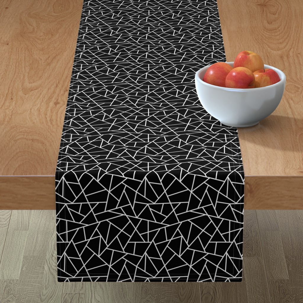 Minorca Table Runner featuring Abstract Geometric White on Black Small by sierra_gallagher