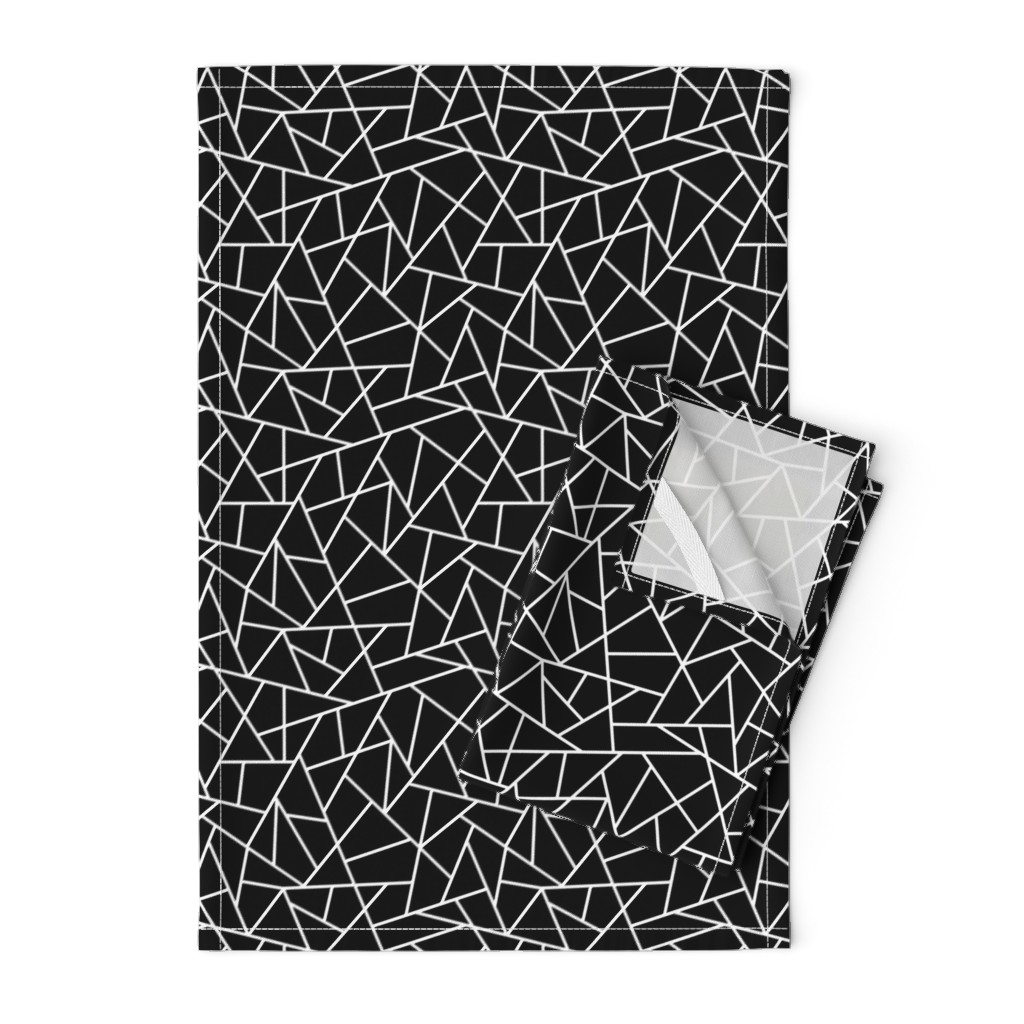 Orpington Tea Towels featuring Abstract Geometric White on Black Small by sierra_gallagher
