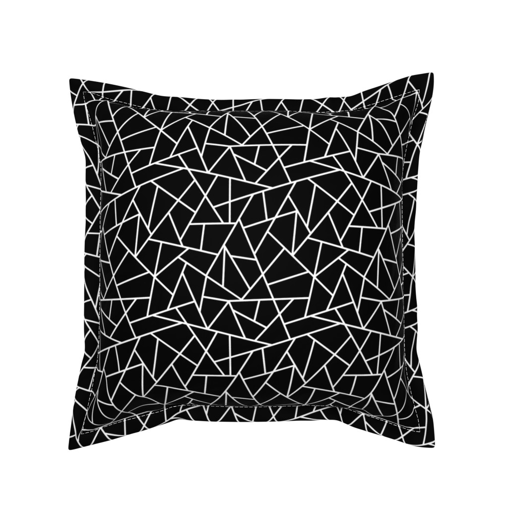 Serama Throw Pillow featuring Abstract Geometric White on Black Small by sierra_gallagher
