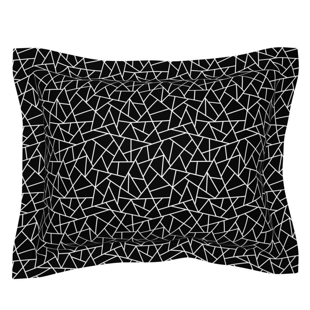 Sebright Pillow Sham featuring Abstract Geometric White on Black Small by sierra_gallagher