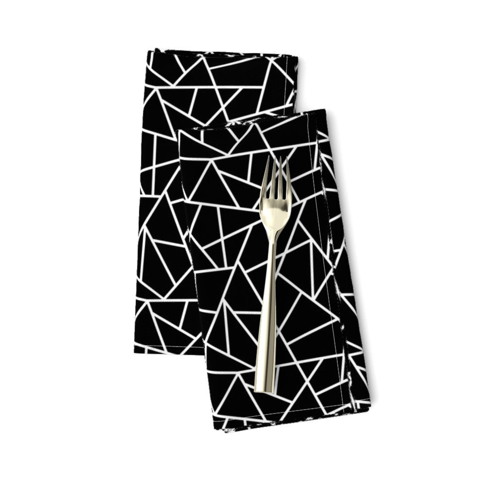 Amarela Dinner Napkins featuring Abstract Geometric White on Black Small by sierra_gallagher