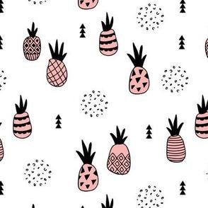 Trendy summer spring geometric pineapple fruit scandinavian style pastel pink