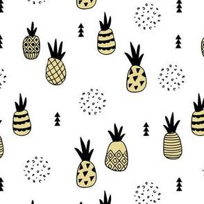 Trendy summer spring geometric pineapple fruit scandinavian style yellow