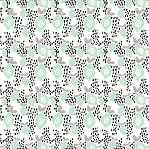 Cool scandinavian abstract tropical fruit summer spring fabric mint XS