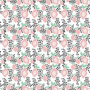 Cool scandinavian abstract topical fruit summer spring fabric mint pink XS