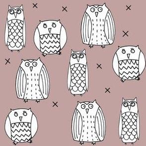Owls Dusty Pink