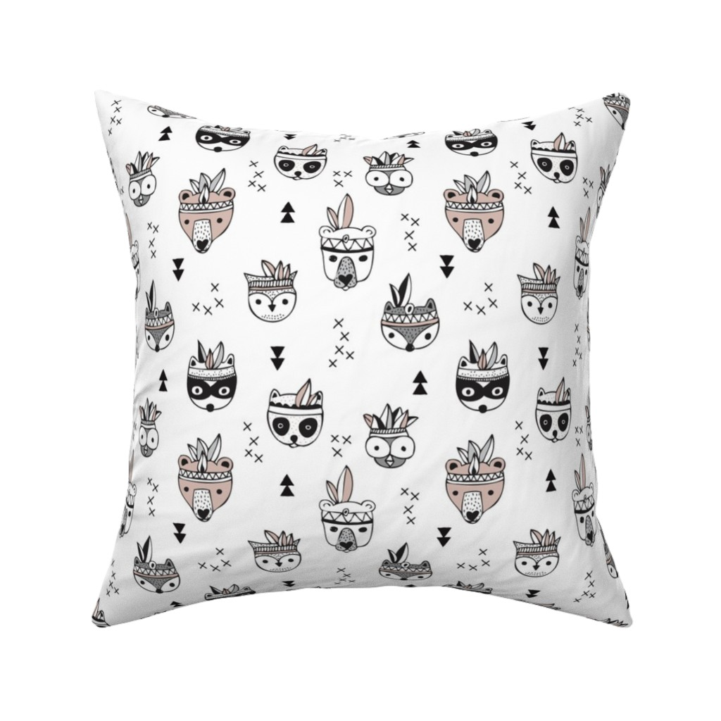 Catalan Throw Pillow featuring Cool scandinavian geometric woodland animals indian fall winter zoo black and white by littlesmilemakers