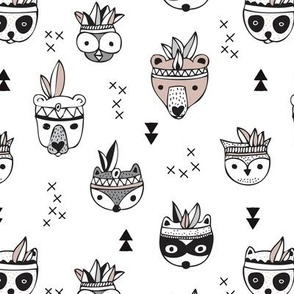 Cool scandinavian geometric woodland animals indian fall winter zoo black and white