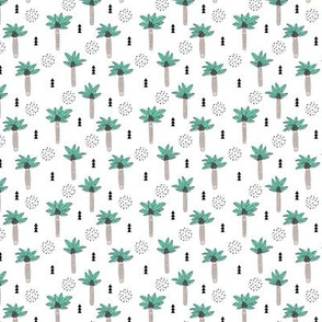 Cool summer geometric palm tree tropical holiday design gender neutral black and white beige green XS
