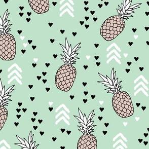 Tropical mint green and beige pineapple summer fruit geometric arrow pattern print