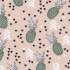 Tropical pastel beige and green pineapple summer fruit geometric arrow pattern print