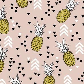 Tropical pastel beige and mustard yellow pineapple summer fruit geometric arrow pattern print
