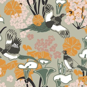Pheasants in greens and pink