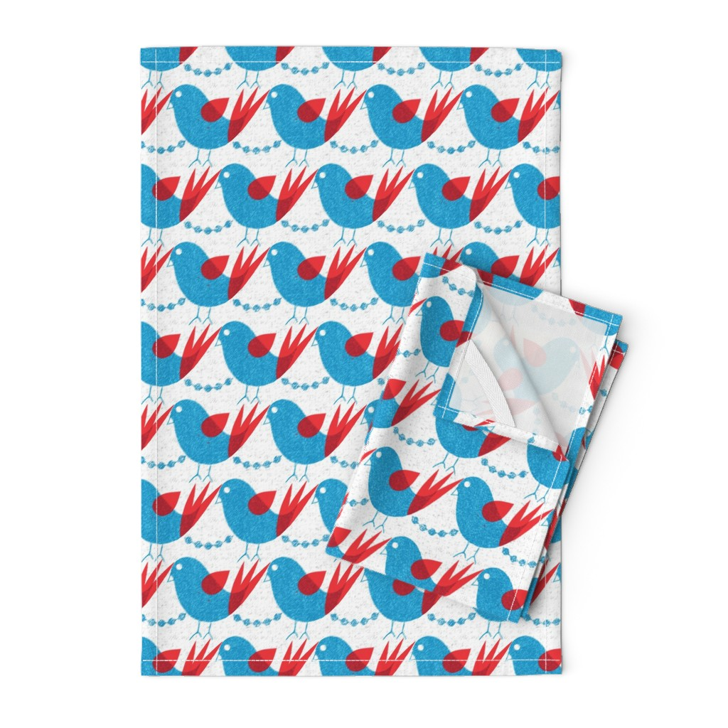 Orpington Tea Towels featuring blue bird by ottomanbrim
