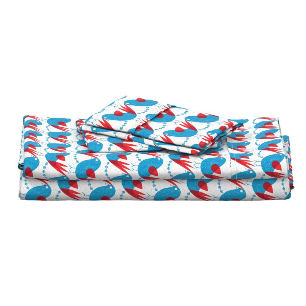 Langshan Full Bed Set featuring blue bird by ottomanbrim