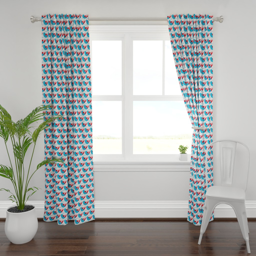 Plymouth Curtain Panel featuring blue bird by ottomanbrim