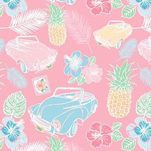 Cuban Cars Tropical - Coral Pink