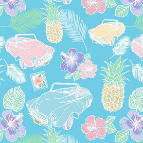 Cuban Cars Tropical - Sea Blue