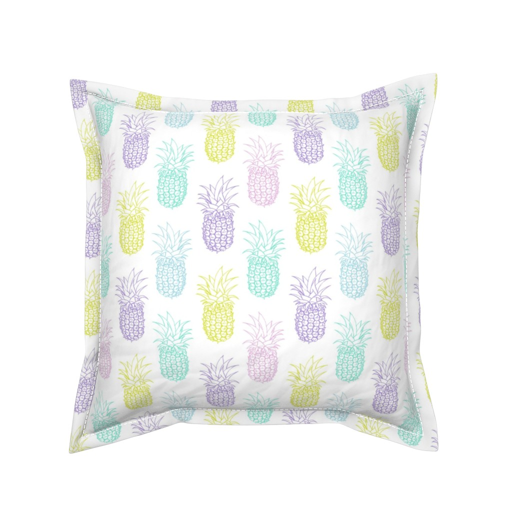 Serama Throw Pillow featuring Pretty Pastel Pineapples by heather_anderson