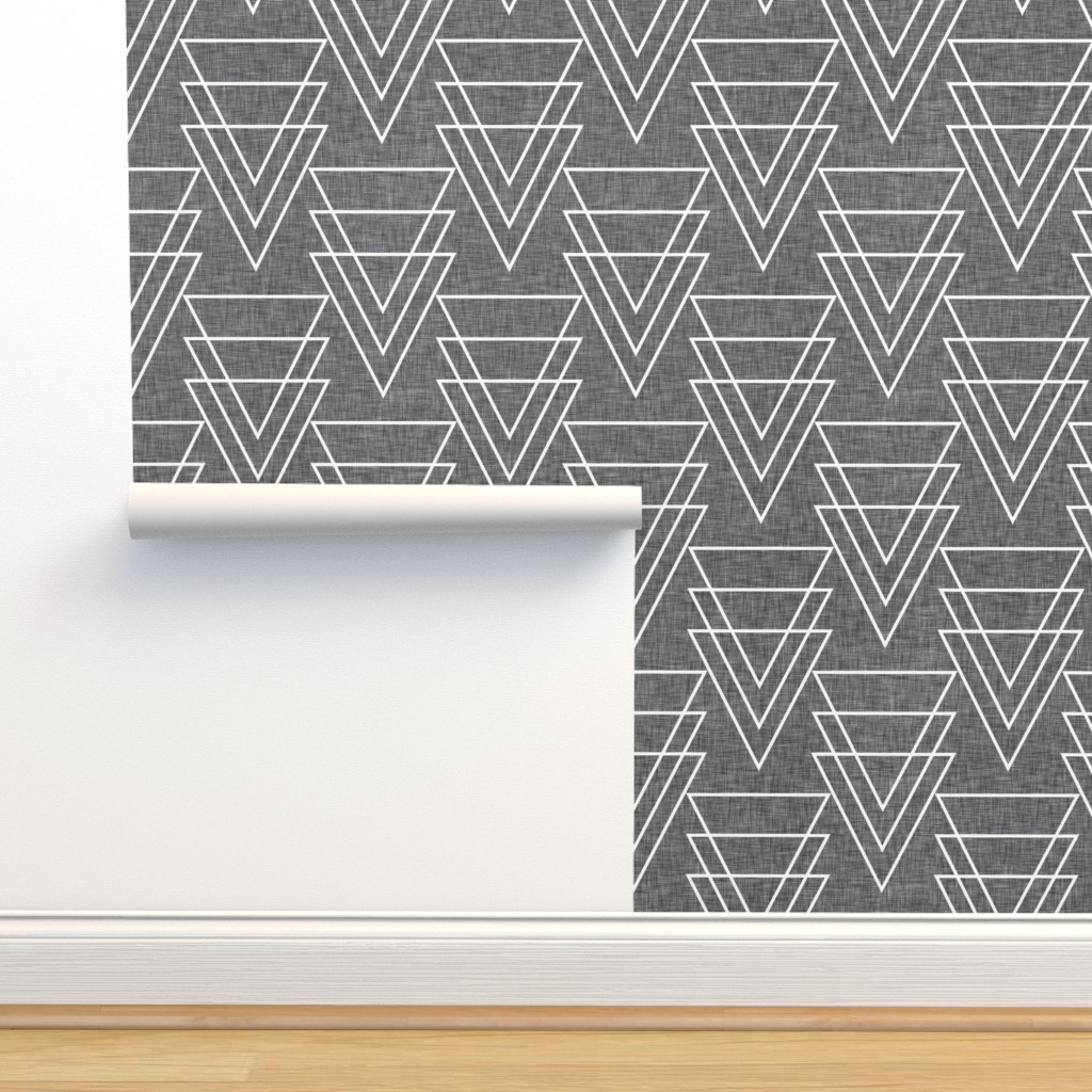 Isobar Durable Wallpaper featuring geometric_arrow_linen by holli_zollinger