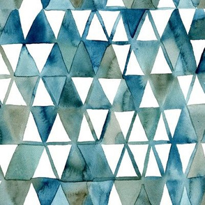 Blue Geometric Watercolor by Angel Gerardo