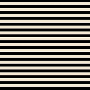 Breton Stripe Black and Cappuccino Cream  (1/4 inch)