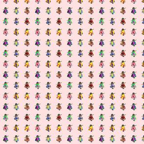 Mini Fiesta Dolls on pink