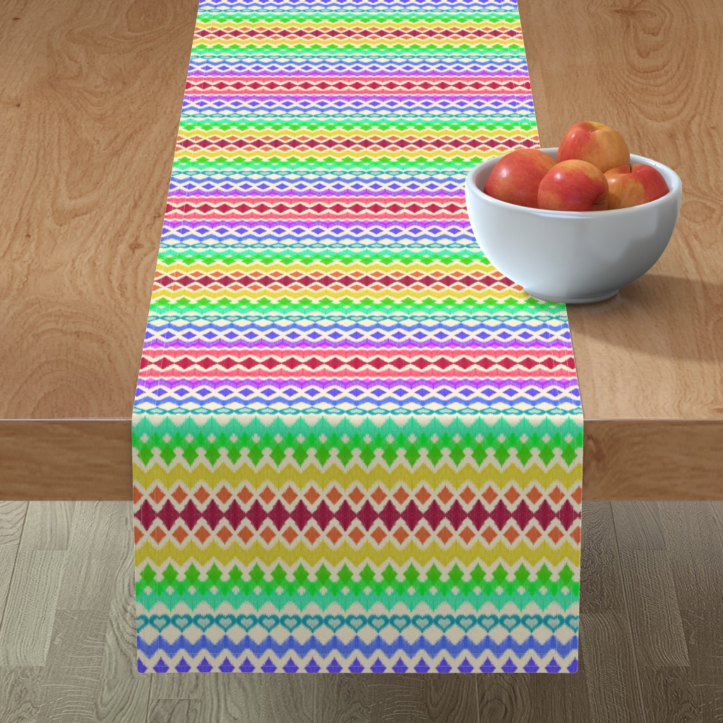 Minorca Table Runner featuring Rainbow Ikat with Hearts on cream by micklyn