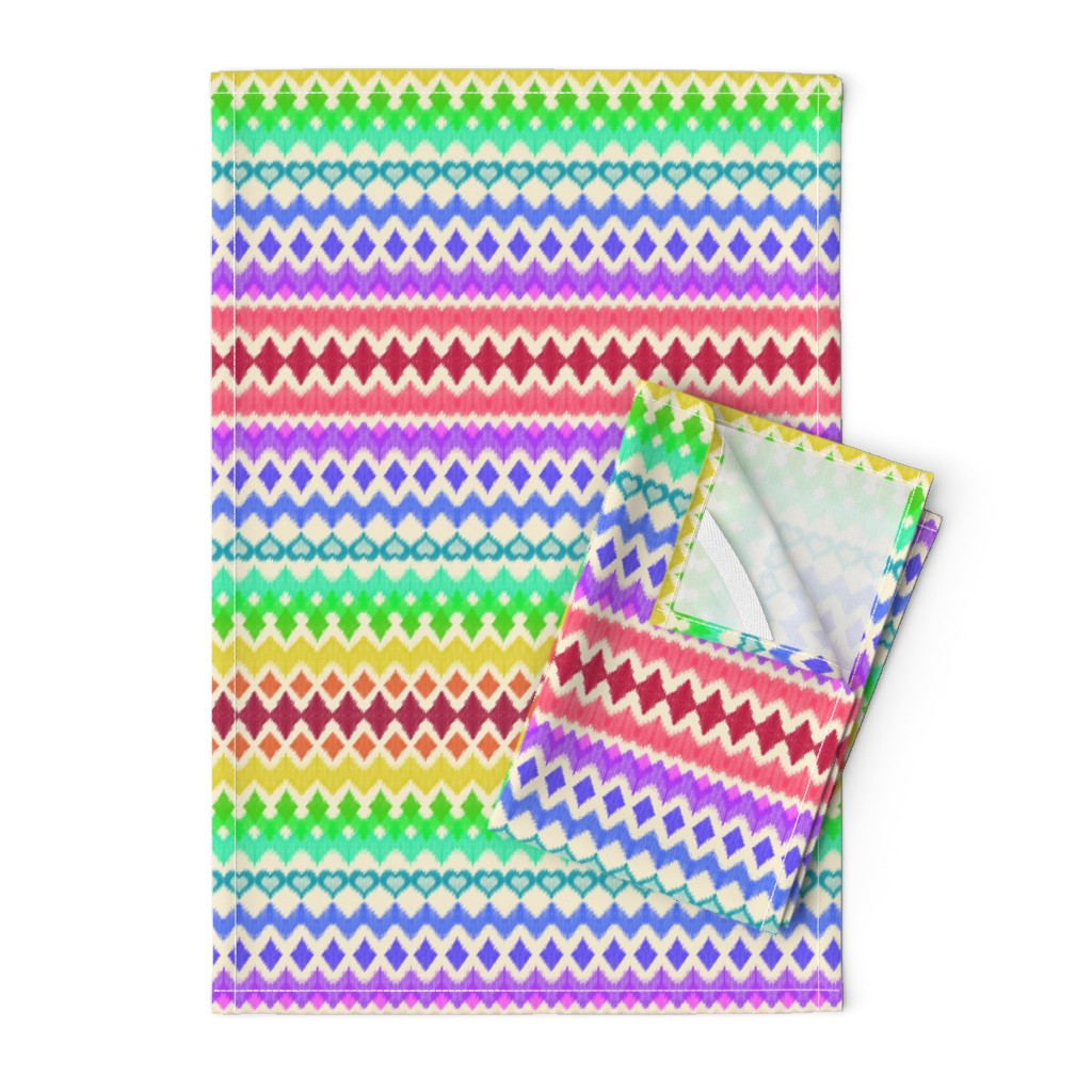 Orpington Tea Towels featuring Rainbow Ikat with Hearts on cream by micklyn