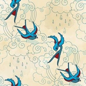 Swallows in Clouds