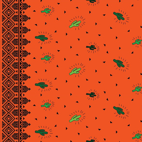 Dancing Cactus Orange with Border