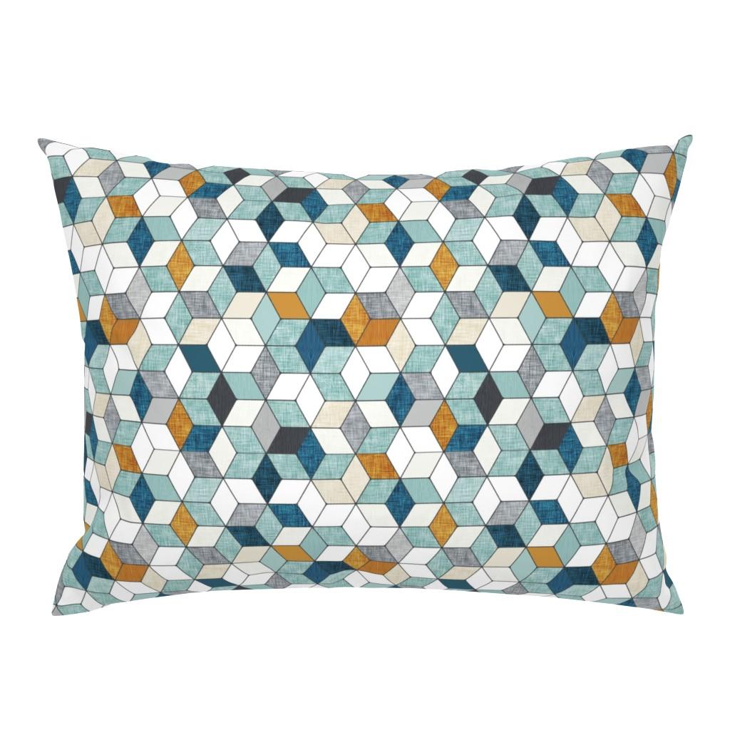 Campine Pillow Sham featuring Hexo (blue) MED by nouveau_bohemian