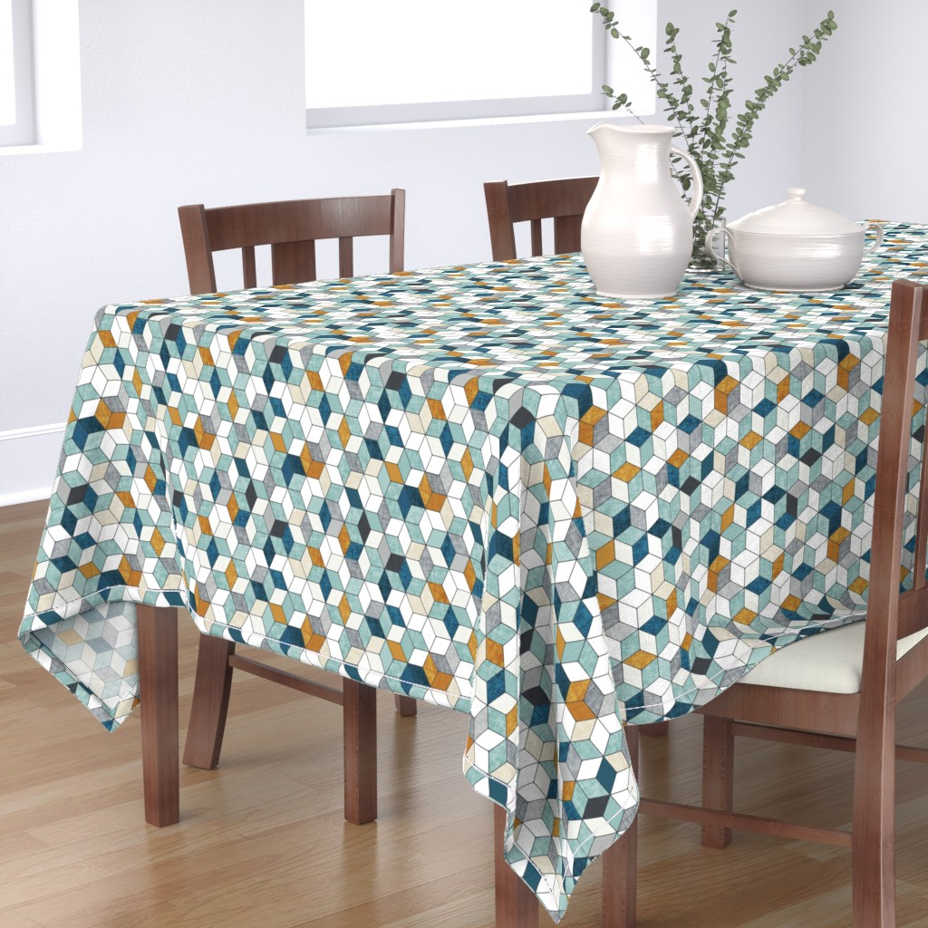 Bantam Rectangular Tablecloth featuring Hexo (blue) MED by nouveau_bohemian