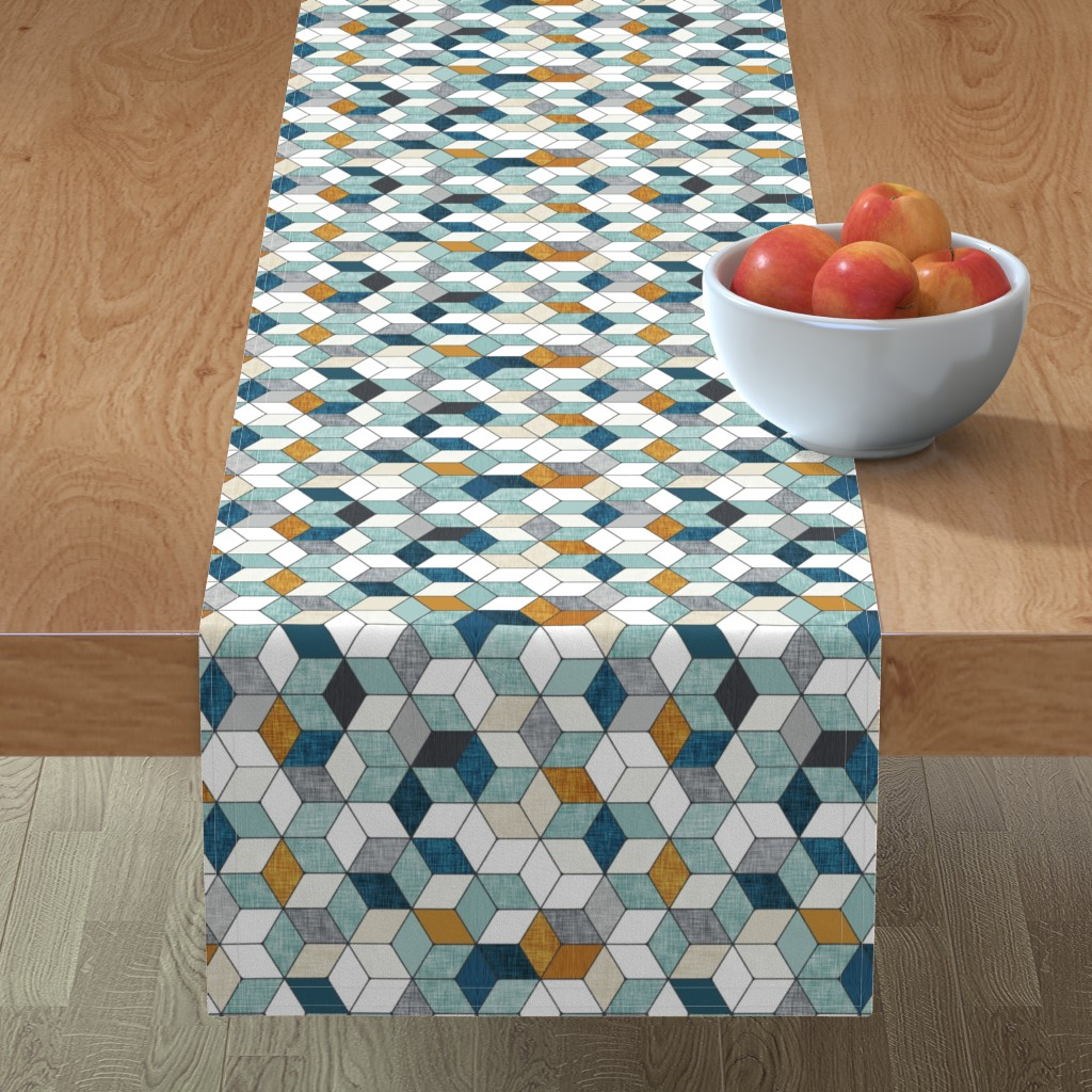 Minorca Table Runner featuring Hexo (blue) MED by nouveau_bohemian