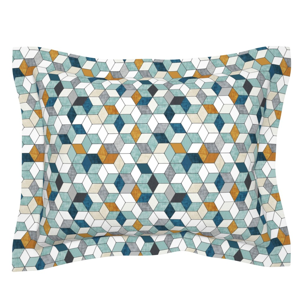 Sebright Pillow Sham featuring Hexo (blue) MED by nouveau_bohemian