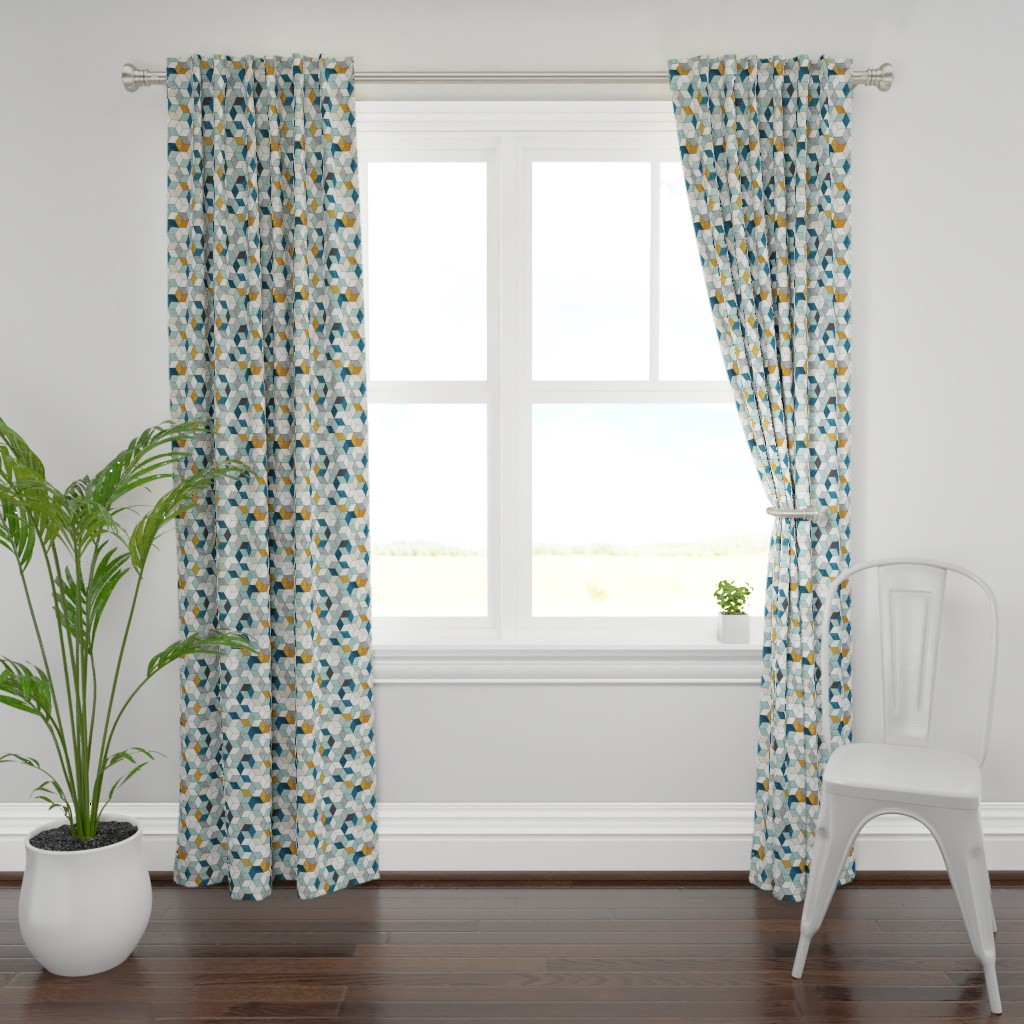 Plymouth Curtain Panel featuring Hexo (blue) MED by nouveau_bohemian