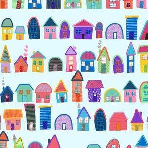 Neighbors on Sky Blue (Illustrated Houses)