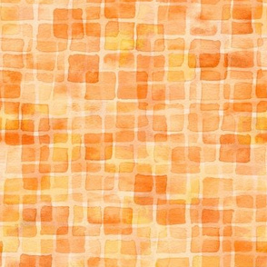 double watercolor squares in tangerine and orange
