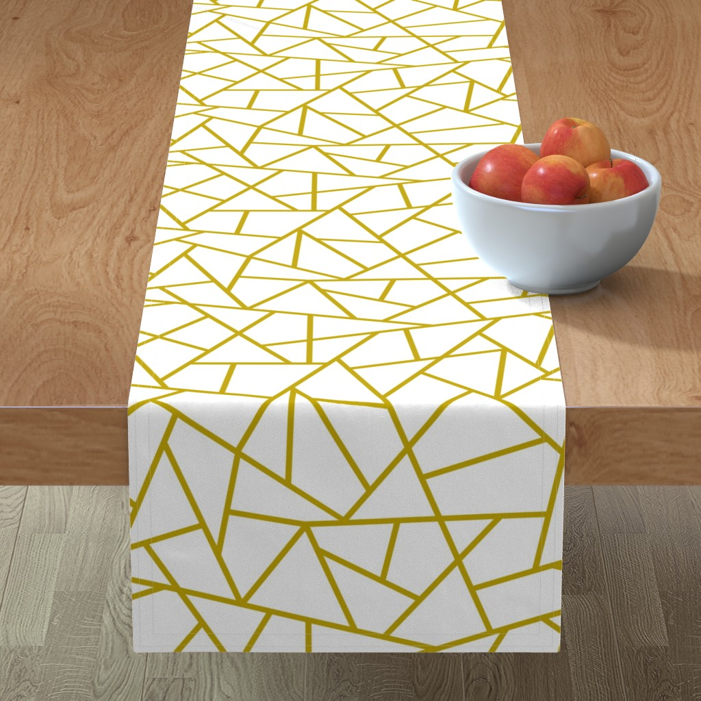 Minorca Table Runner featuring Abstract Geometric Gold on White Large by sierra_gallagher